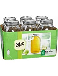 Ball 68100 Half Gallon Wide Mouth Mason Jars, Silver Lids by