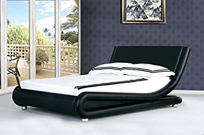 4ft6 Italian Designer Faux Leather Double Mallorca Bed Frame in BLACK + Tanya Mattress