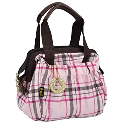 Q-girl Pink Plaid Pattern Makeup Organizer Cosmetic Storage Tote Bag W Detacheable Multipurpose Insert from MyGift