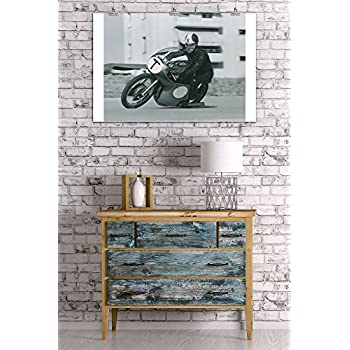 Motorcycle Race - T Vintage Poster (24x36 Giclee Gallery Print, Wall Decor Travel Poster)