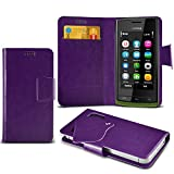 (Purple) Nokia 500 Super Thin PU Leather Suction Pad Wallet Case Cover Skin With Credit/Debit Card Slots By Fone-Case