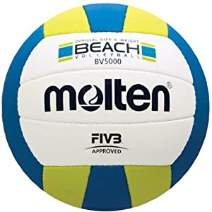 Buy Molten Elite Beach Volleyball (FIVB Approved, Official Outdoor Volleyball of USA Volleyball, Blue Yellow) by Molten