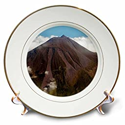 3dRose cp_37615_1 Aerial View of Pico Mount Volcano, Pico Island Azores Islands, Portugal, North Atlantic Ocean Porcelain Plate, 8-Inch,