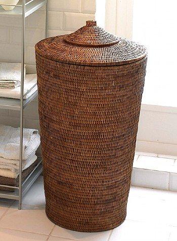 Orchid Rattan Laundry Basket One size (D40cm x H71cm)