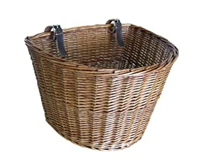 Medium Traditional Wicker Bicycle Front Basket with Leather Straps