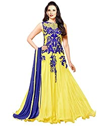 Varibha Women's Branded Indian Style Georgette Yellow Salwar Suit Dress Material ( Best Gift For Mom, Wife, Sister )