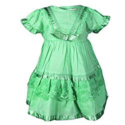 ShopperTree Green Cambric Lace Dress(ST-1419_Green_0-6M)