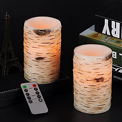 """Best Cheap Deal for Bingolife Real Wax Birch Bark Effect Flameless LED Candles 3.2"""" x 5"""" with Remote Control & Timer - Set of 2 by Bingolife - Free 2 Day Shipping Available"""