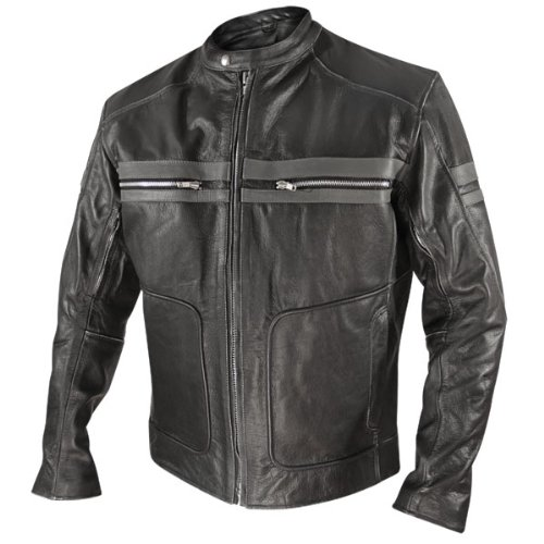 Xelement Mens Black Leather Motorcycle Jacket