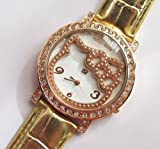 Big Dail Rhinestone Hello Kitty Wrist Watch with Faux Leather Band – Golden