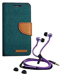 Aart Fancy Wallet Dairy Jeans Flip Case Cover for NokiaN520 (Green) + Zipper Earphones/Hands free With Mic *Stylish Design* for all Mobiles- computers & laptops By Aart Store.