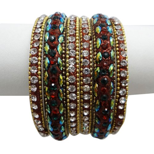 6 Pcs Indian Wedding CZ Stone Gold Tone Bangle
