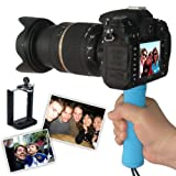 First2savvv ZP-B-03 blue Self-portrait telescopic handheld Pole Arm monopod Camcorder/Camera/mobile phone tripod mount adapter bundle for Nikon COOLPIX P510