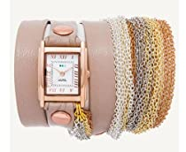 La Mer Collections - Rainbow Multichain Nude Leather Wrap Watch