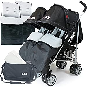 Zeta Twin Stroller - Black Complete With x2 Deluxe footmuff + Changing Bag + Raincover by Baby Travel®