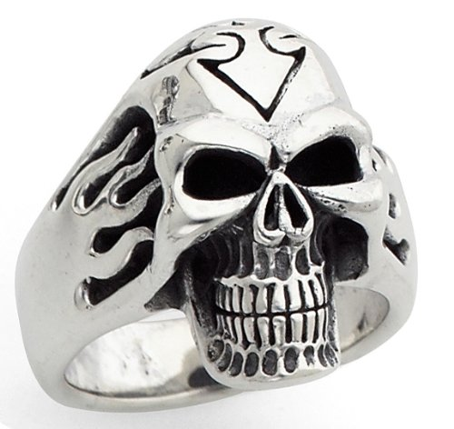 Stainless SteelSides Flaming Skull (Available in Sizes 10 to 14) size 11
