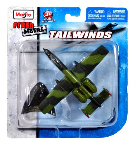 Maisto Fresh Metal Tailwinds 1:153 Scale Die Cast United States Military Aircraft : U.S. Air Force Single-Seat, Twin-Engine, Straight-Wing Jet, Close Air Support (CAS) of Ground Forces Aircraft A-10A Thunderbolt II aka Warthog with Display Stand (Dimension: 4-1/2