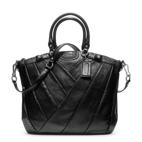 Coach Madison Diagonal Pleated Mixed Exotic Lindsey Satchel Bag Black F21318
