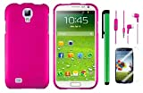 Samsung Galaxy S4 i9500 Accessory Combination - Premium Plain Color Protector Hard Cover Case / Screen Protector Film / 1 Random Color Handsfree Headset 3.5MM Stereo Earphones / 1 of New Metal Stylus Touch Screen Pen (Hot Pink)