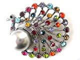 Multi Rhinestone Colorful Proud Peacock Pin Brooch