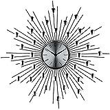 LexMod Silver Starburst Wall Clock (Retro Modern)