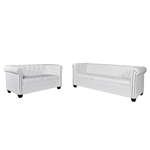 Set de Canapé Chesterfield de 2 places et 3 places Blanc
