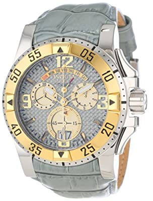 Invicta Men's 12482 Excursion Chronograph Silver Carbon Fiber Dial Grey Leather Watch
