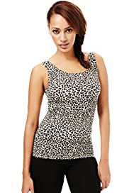 Secret Slimming&#8482; Light Control Round Neck Animal Print Camisole