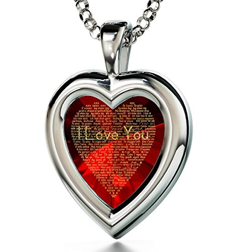I Love You Necklace On Garnet Cubic Zirconia Cz In 120 Languages In 24Kt Gold - Silver Red Heart Jewelry