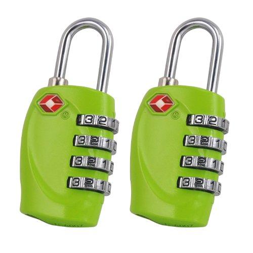 TRIXES x 2 Lucchetto di sicurezza a 4 combinazioni per valigia approvato dalla TSA - verde