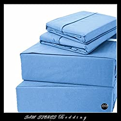 Luxurious 100% Egyptian Cotton 600TC Cal-King Size Attached Waterbed Sheet Set Solid Blue