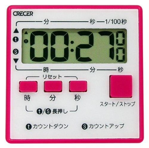 クレセル かんたん長時間デジタルタイマー 【最大セット時間 99時間59分59秒】 ピンク CT-300P