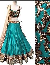Khazanakart Designer Navy Blue Color Banglori Fabric Un-stitched Lehenga Choli With Chiffon Dupatta Material.