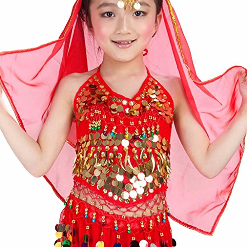 Pilot-trade Kid's Belly Dance Bra Tops with Sequins Beads Bells Peppers