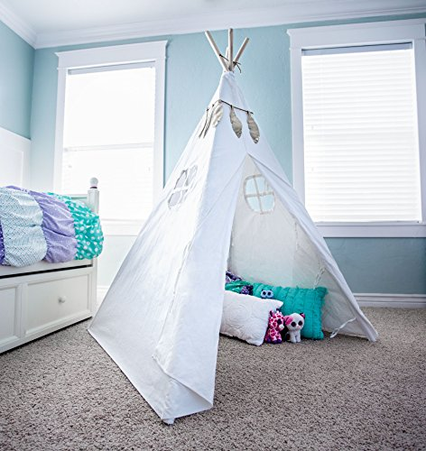 Cotton-canvas-childrens-5-tall-kids-teepee-with-fire-and-feather-garland-for-indoor-outdoor-playhouse-camping-fun