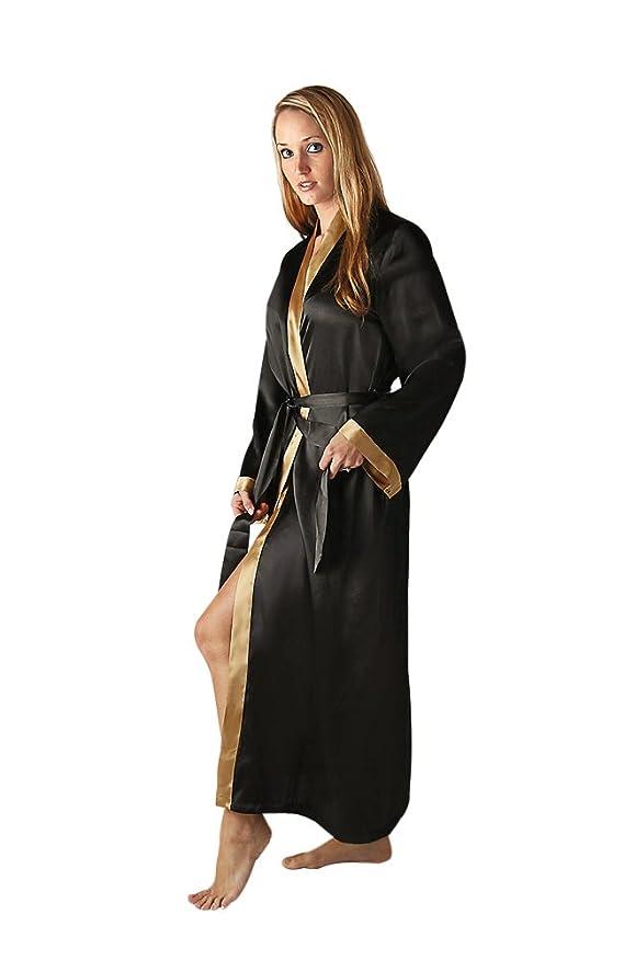 Del Rossa Women's Long Classic Satin Lounge Robe