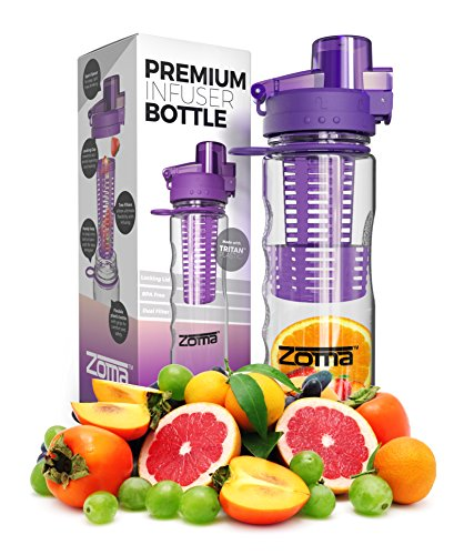 25oz Fruit Infuser Water Bottle - Leak Free Locking Cap - BPA Free Tritan Plastic - Sport Spout for Easy Drinking - Carrying Loop and Finger Grips for Easy Transport - Instructions and Recipes Included in Box (Purple) (Infuse Bottle compare prices)