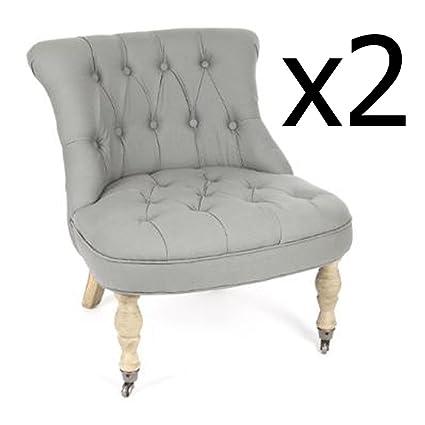 Lot de 2 Fauteuils CAN gris Calixte coton, L.63 x l.69 x h.70 cm -PEGANE-