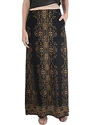 Bonhomie Women Skirts [BCQSB38_Black Golden_Medium]