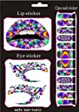 Buyinhouse New Fashion Style Temporary Nail Lips Eyes Eyeliner Transfer Eyeshadow Makeup Beauty Tattoos Stickers Set Kit, Night Out - Stand Out -Diamond Sparking