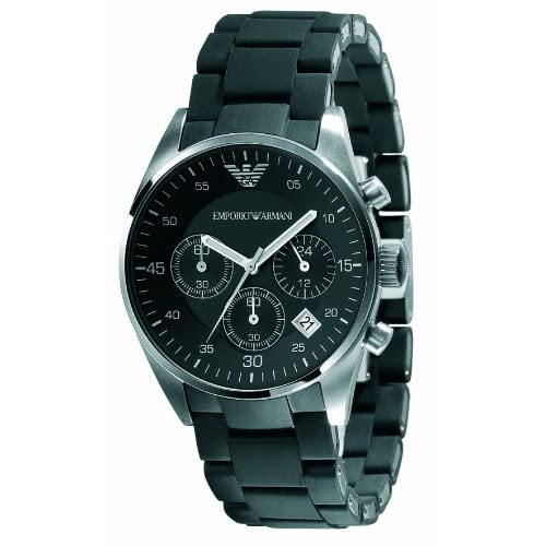 Emporio Armani Ladies Chronograph Sport Watch, Round Case Stainless Steel Bracelet with Black Silicone covering.