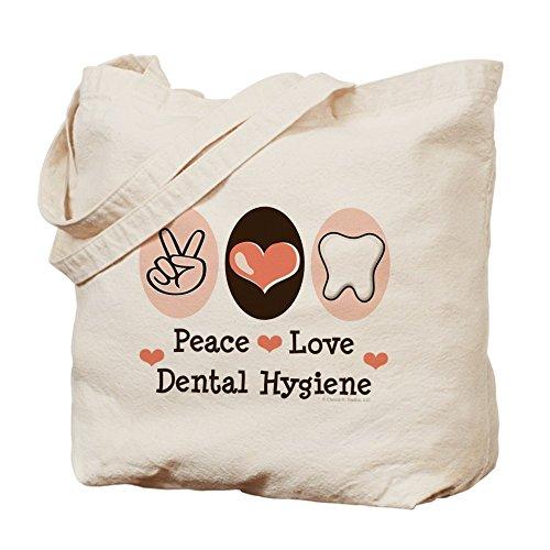 CafePress – Peace Love Dental Hygiene – Tote Bag