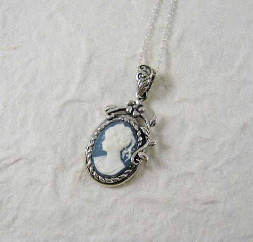Flower Vine Cameo Necklace, Blue