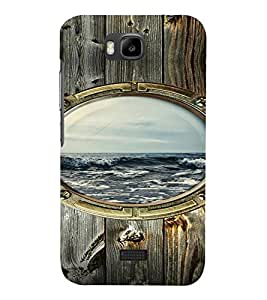 PrintVisa Window Sea Wooden Design 3D Hard Polycarbonate Designer Back Case Cover for Huawei Honor Bee