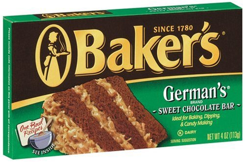Chocolate Baker S German Chocolate 4 Ounce Bars Pack Of 4