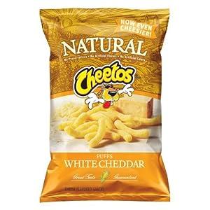 Cheetos Natural White Cheddar Puffs Cheese Flavored Snacks, 8oz Bags ...
