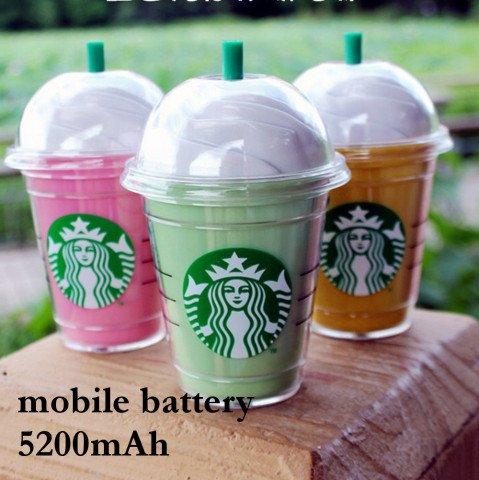 カフェ フラペチーノ スタバ モバイルバッテリー モバイルチャージャー 充電器 ポータブル スマホ i phone Apple アップル Android アンドロイド タブレット 大容量 軽量 おしゃれ かわいい キュート Felicita'AAP 5200mAh (グリーン)