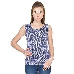 Species Women's Regular Fit Top (S-4343_Blue Print_Medium)