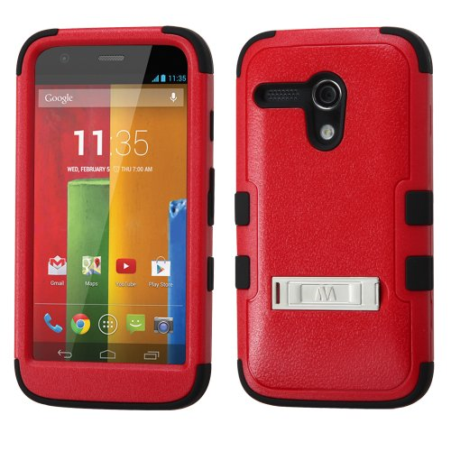 Thousand Eight(Tm) For Motorola Moto G Heavy Duty Defender Tuff Hybrid Hard Case With Stand Case + [Free Lcd Screen Protector Shield(Ultra Clear)+Touch Screen Stylus] (Hybrid Stand Red/Black)