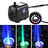 GBGS 15W 800L/h 12 Color LED Light Submersible Fountain Fish Aquarium Water Pump (15W 800L/H 1.6m)